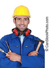 trabajador, martillo, cincel, manual