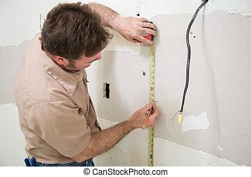 trabajador, medición, y, mancha