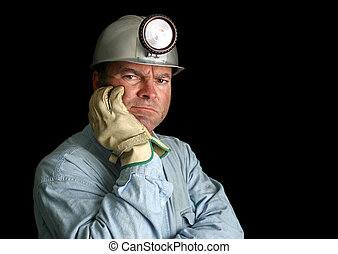 trabajador, mina, contrariado