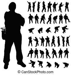 trabajador, negro, silueta, en, vario, posturas