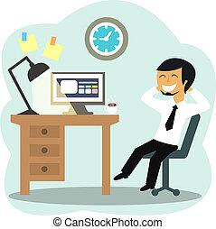 trabajador, oficina, feliz
