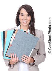 trabajador, papeleo, hembra, oficina, pila
