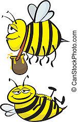 trabajador, perezoso, abeja