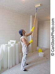 trabajador, pintura, techo, con, pintura, rodillo