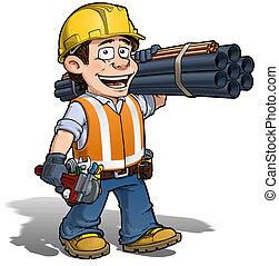 trabajador, plomero, construcción, -