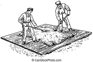 trabajador, preparando, concreto