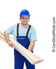 trabajador, proceso de llevar, de madera, plancks