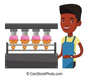 trabajador, producir, fábrica, ice-cream.