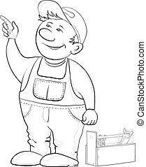 trabajador, puntos, dedo, contorno