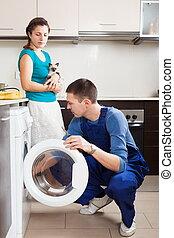 trabajador, reparación, lavadora