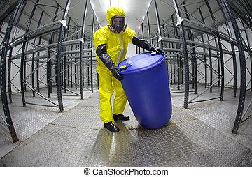 trabajador, rodante, barril, de, químicos