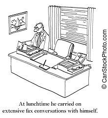 trabajador, sí mismo, aburrido, faxes, oficina