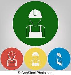 trabajador, signo., vector., 4, blanco, estilos, de, icono, en, 4, coloreado, círculos, en, gris ligero, fondo.