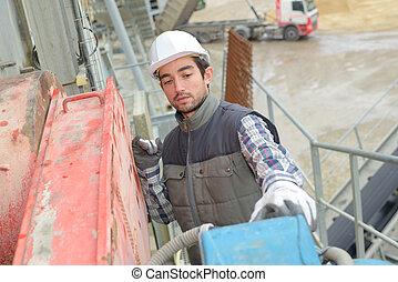 trabajador, sitio, cemento