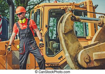 trabajador, sitio., macho, comercial, trabajo