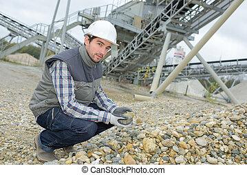trabajador, tenencia, roca