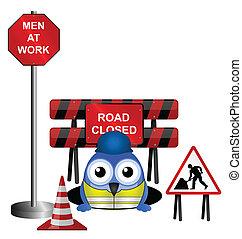 trabajador, tener cuidado, de, el suyo, agujero