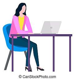 trabajador, trabajando, distante, mujer, vector, hogar