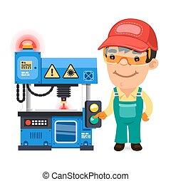 trabajador, trazador, laser, fábrica, trabajando