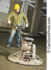 trabajador, trowelling, y, acabado, de, concreto