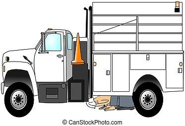 trabajador, verificar, el suyo, camión