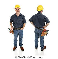 trabajador, vistas, construcción, dos