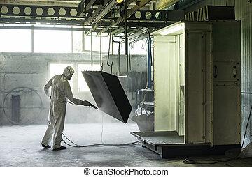 trabajador, voladura, cajón, arena, metal