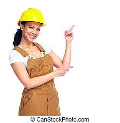 trabajador, woman.