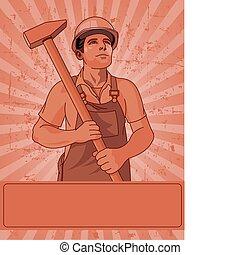 trabajador, y, un, martillo