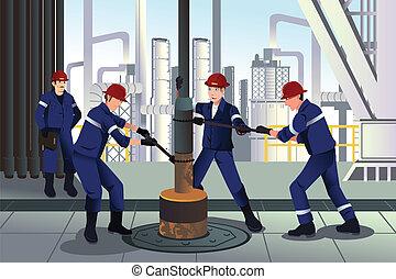 trabajadores, aceite, gas