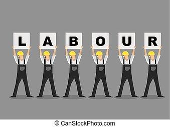 trabajadores, arriba, ilustración, carteles, vector, ...