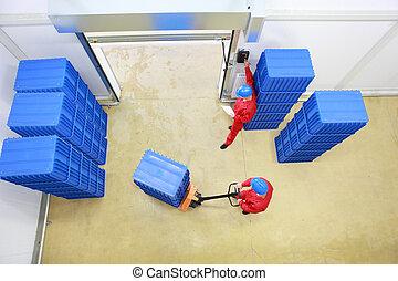 trabajadores, carga, contenedores