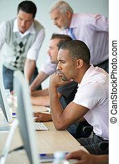 trabajadores, Computadoras, oficina