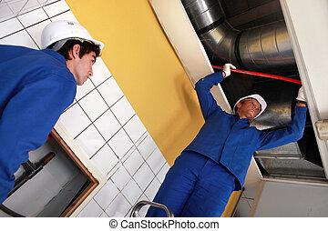 trabajadores, condicionamiento, trabajando, aire