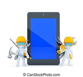 trabajadores construcción, con, tableta, pc., isolated., contiene, ruta de recorte, de, tableta, pantalla, y, entero, escena