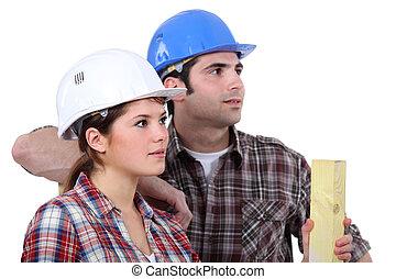 trabajadores, construcción, fondo blanco