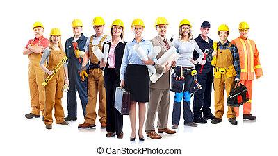 trabajadores construcción, group.