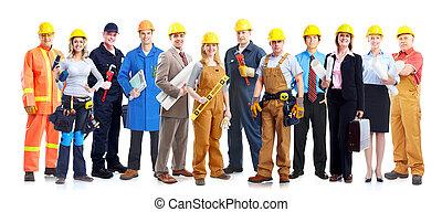 trabajadores, construcción, group.
