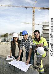 trabajadores, construcción, juntos, trabajando, equipo