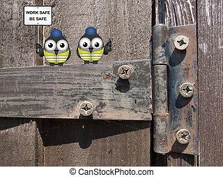 trabajadores construcción, perched, en, un, h
