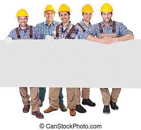 trabajadores construcción, presentación, vacío, bandera