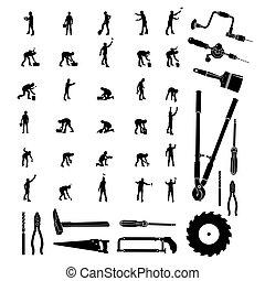 trabajadores construcción, vector