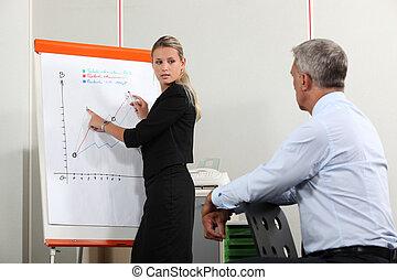 trabajadores, crecimiento, discutir, gráfico, oficina