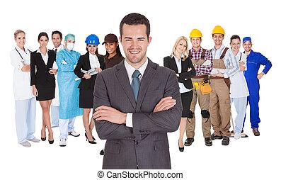 trabajadores, de, diferente, profesiones, juntos, blanco
