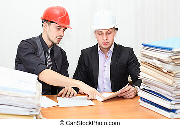 trabajadores, dos, oficina, ingenieros