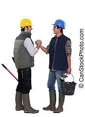trabajadores, dos, saludo, otro, cada, construcción