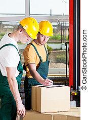 trabajadores, durante, trabajo, en, un, fábrica
