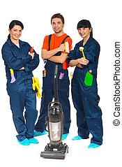 trabajadores, equipo, limpieza, servicio