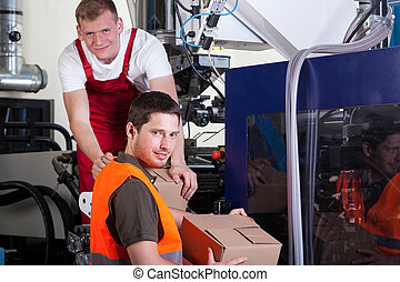 trabajadores, fábrica, trabajando