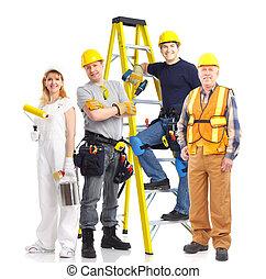 trabajadores, gente, industrial